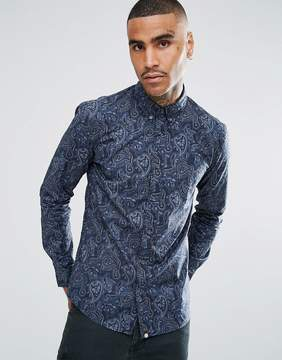 Pretty Green Long Sleeve Aop Paisley Shirt In Navy