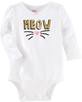Osh Kosh Baby Girl Meow Kitty Cat Bodysuit
