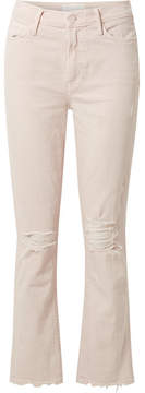 Mother Rascal Cropped Distressed High-rise Slim-leg Jeans - Pastel pink