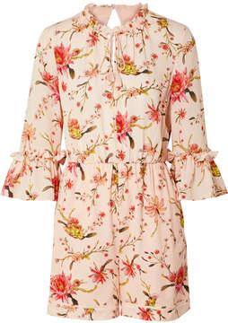 Rachel Zoe Grace Floral-print Cutout Silk-georgette Playsuit - Pastel pink