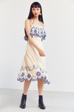Cleobella Inez Embroidered Ruffle Midi Dress