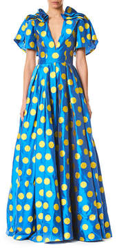 Carolina Herrera Short-Sleeve Polka Dot Taffeta Gown