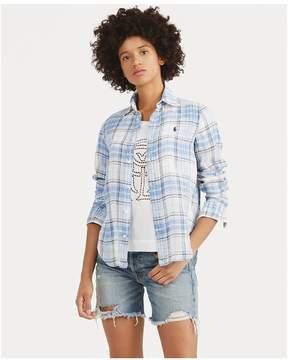 Polo Ralph Lauren | Boy Fit Linen Plaid Shirt | Xl | Blue