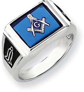 Ice 14k White Gold Men's Masonic Ring