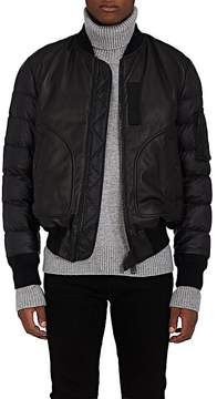 Moncler Men's Down-Filled Leather & Tech-Faille Bomber Jacket
