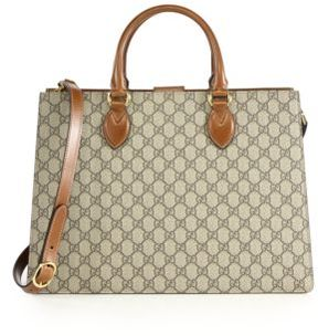 Gucci GG Supreme Large Top-Handle Bag - BEIGE - STYLE