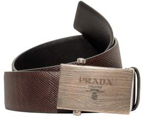Prada Box Frame Engraved Buckle Saffiano Reversible Leather Belt (Brown/Black, EU:85 US:34)