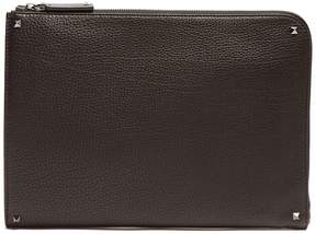 Valentino Pebbled-leather document holder