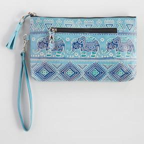World Market Blue Elephant Leather Clutch