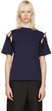 Facetasm Navy Tie Shoulder T-Shirt