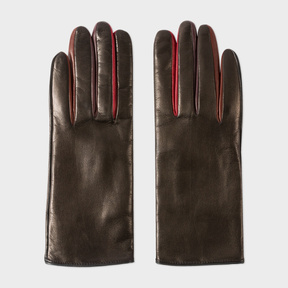 Paul Smith Women's Black Leather Concertina Gloves