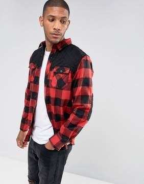 Brave Soul Quilted Panel Checked Shacket