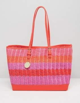 Silvian Heach East West Raffia Tote Bag