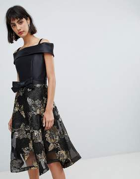 Bardot Amy Lynn Skater Dress With Jacquard Skirt