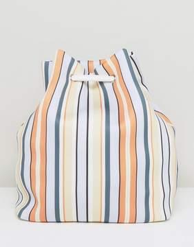 ASOS LIFESTYLE Striped Scuba Drawstring Beach Backpack