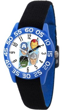 Marvel Marvel's Avengers: Captain America, Hulk, Tony Stark and Thor Boys' Blue Plastic Time Teacher Watch, Reversible Black and Blue Nylon Strap