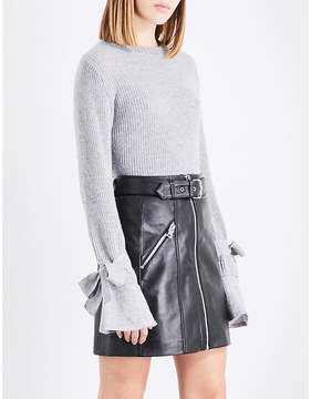Claudie Pierlot Flared-cuff ribbed wool and cashmere-blend jumper