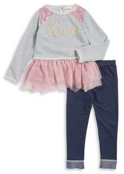 Little Lass Little Girl's Two-Piece Ruffled Top & Rolled Leggings Set