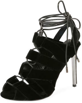 Tom Ford Velvet Cutout Lace-Up Sandal, Black