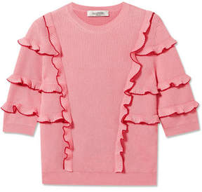 Valentino Ruffled Ribbed Cotton Sweater - Pink