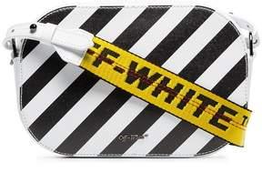 Off-White black and white diagonal stripe leather camera bag