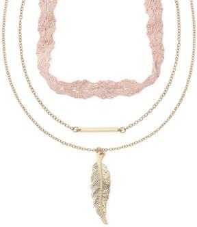 Carole Three-Row Leaf Pendant Necklace