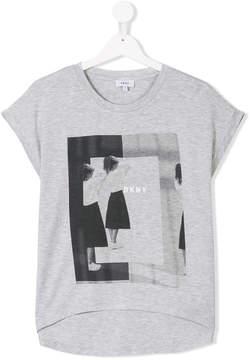 DKNY TEEN graphic print high low T-shirt