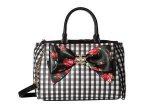 Betsey Johnson Gingham Style Bow Satchel Satchel Handbags