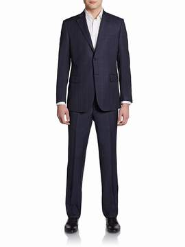 Saks Fifth Avenue BLACK Men's Slim-Fit Windowpane Wool Two-Button Suit