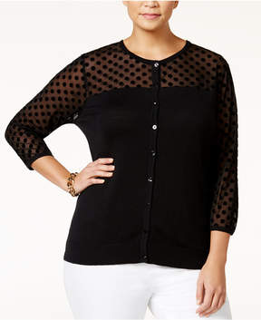 August Silk Plus Size Illusion Sheer Cardigan