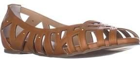 Thalia Sodi Ts35 Zuly Cutout Peep Toe Ballet Flats, Cognac.