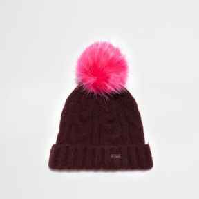 River Island Womens Burgundy cable knit bobble beanie hat