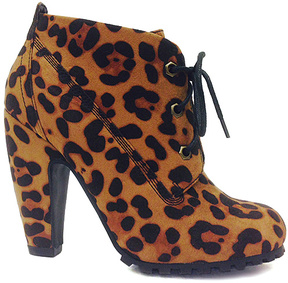Bamboo Leopard Mozza Lace-Up Bootie