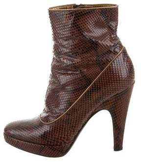 Prada Platform Snakeskin Ankle Boots