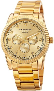Akribos XXIV Gold-Plated Stainless Steel Diamond Men's Watch