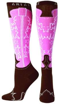 Ariat A10011071 Womens Western Boot Knee Sock, Brown & Pink - One size