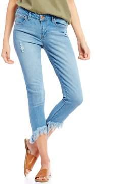 Celebrity Pink Destructed Super Fray Hem Ankle Skinny Jeans