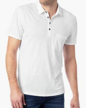 7 For All Mankind Short Sleeve Raw Placket Polo in White