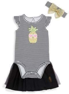 Petit Lem Baby Girl's Three-Piece Striped Cotton Bodysuit, Mesh Skirt and Bow Headband