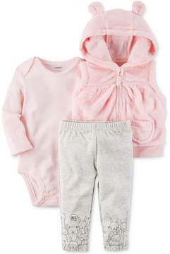 Carter's 3-Pc. Hooded Vest, Bodysuit & Pants Set, Baby Girls (0-24 months)