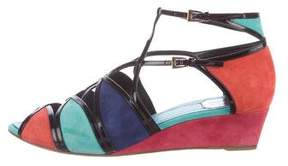 Christian Dior Suede Cutout Wedge Sandals