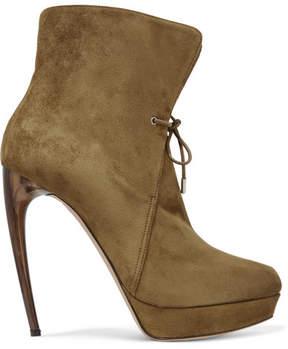 Alexander McQueen Suede Platform Ankle Boots - Tan