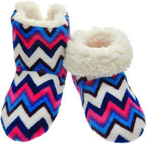 Angelina Blue & Pink Zigzag Fleece-Lined Slippers - Women