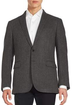 Ralph Lauren Black Label Herringbone Textured Wool Blazer