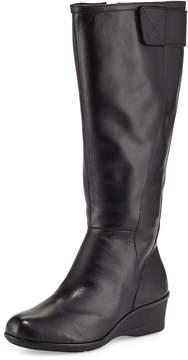 Taryn Rose Aiden Leather Demi-Wedge Knee Boot, Black