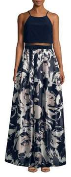 Betsy & Adam Illusion Two Piece Abstract Dress