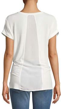 Dex Chiffon-Back Short-Sleeve Tee