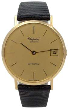 Chopard 18K Yellow Gold Geneve Automatic Date Leather Wrist 33mm Mens Watch