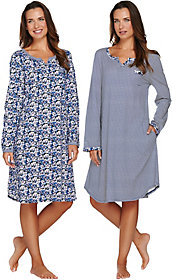 Carole Hochman Cotton Knit Floral & Stripe Sleepshirt 2-Pack
