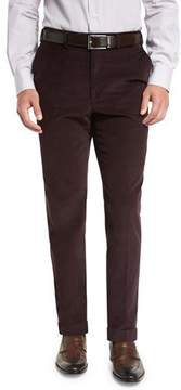 Brioni Pincord Flat-Front Trousers, Burgundy
